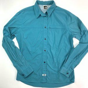 The north face shirt blue button down womens Large